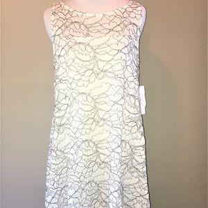 ROBBIE BEE Women's Sleeveless Lace Trapeze Dress S